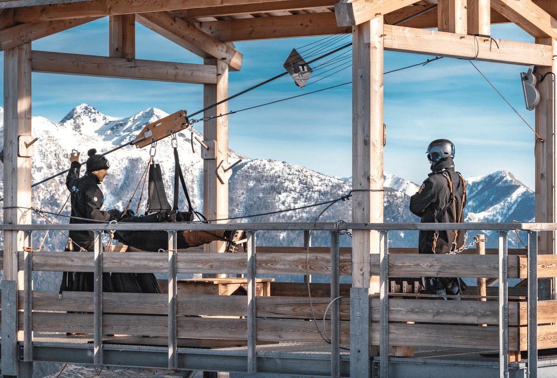 La Tyrolienne La Colmiane en hiver