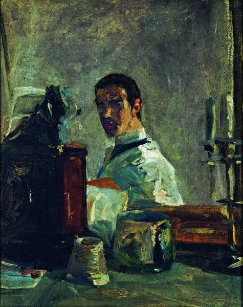 Henri de Toulouse Lautrec, Toulouse Lautrec par lui-même, vers 1880 huile sur carton, 40,6x32,5 Musée Toulouse Lautrec, Albi © cliché F.Pons, © Musée Toulouse-Lautrec, Albi