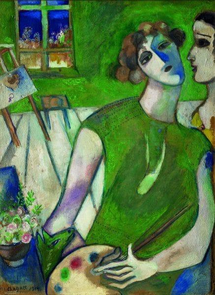 Marc Chagall, Autoportrait en vert, 1914 huile sur toile, 50,7x38 cm Musée National Marc Chagall, Nice Dépôt du Musée national d'art moderne, Centre Pompidou, Paris © RMN-Grand Palais (musée Marc Chagall) © Adrien Didierjean